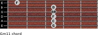 Gm11 for guitar on frets 3, 3, 3, 3, 3, 1