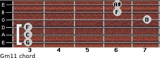 Gm11 for guitar on frets 3, 3, 3, 7, 6, 6
