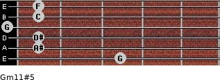 Gm11#5 for guitar on frets 3, 1, 1, 0, 1, 1
