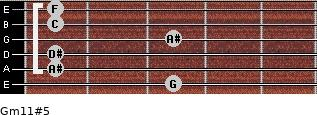 Gm11#5 for guitar on frets 3, 1, 1, 3, 1, 1