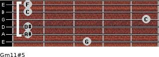 Gm11#5 for guitar on frets 3, 1, 1, 5, 1, 1