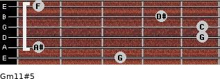 Gm11#5 for guitar on frets 3, 1, 5, 5, 4, 1