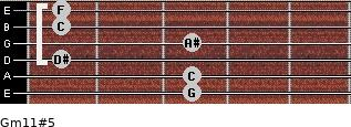 Gm11#5 for guitar on frets 3, 3, 1, 3, 1, 1