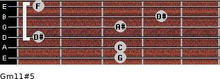 Gm11#5 for guitar on frets 3, 3, 1, 3, 4, 1