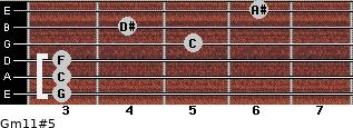 Gm11#5 for guitar on frets 3, 3, 3, 5, 4, 6
