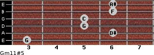 Gm11#5 for guitar on frets 3, 6, 5, 5, 6, 6