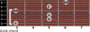 Gm6 for guitar on frets 3, 5, 5, 3, 5, 6