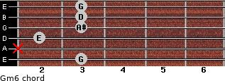 Gm6 for guitar on frets 3, x, 2, 3, 3, 3