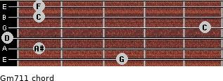Gm7/11 for guitar on frets 3, 1, 0, 5, 1, 1