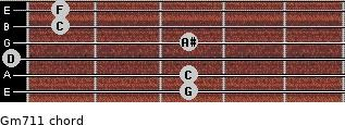 Gm7/11 for guitar on frets 3, 3, 0, 3, 1, 1