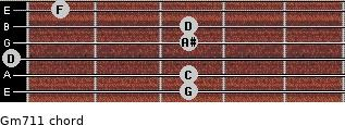 Gm7/11 for guitar on frets 3, 3, 0, 3, 3, 1