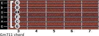 Gm7/11 for guitar on frets 3, 3, 3, 3, 3, 3