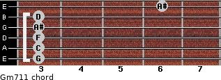 Gm7/11 for guitar on frets 3, 3, 3, 3, 3, 6