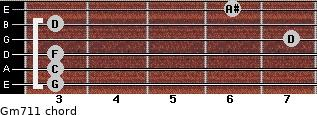 Gm7/11 for guitar on frets 3, 3, 3, 7, 3, 6