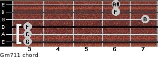 Gm7/11 for guitar on frets 3, 3, 3, 7, 6, 6