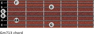 Gm7\13 for guitar on frets 3, 1, 0, 0, 3, 1