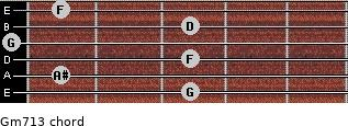 Gm7\13 for guitar on frets 3, 1, 3, 0, 3, 1