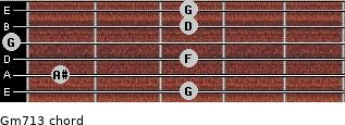 Gm7\13 for guitar on frets 3, 1, 3, 0, 3, 3