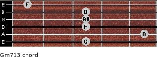 Gm7\13 for guitar on frets 3, 5, 3, 3, 3, 1