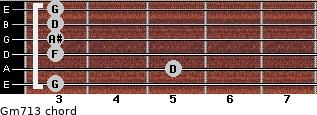 Gm7\13 for guitar on frets 3, 5, 3, 3, 3, 3