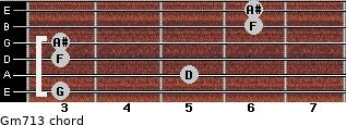 Gm7\13 for guitar on frets 3, 5, 3, 3, 6, 6