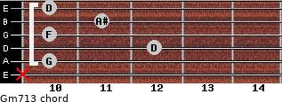 Gm7\13 for guitar on frets x, 10, 12, 10, 11, 10