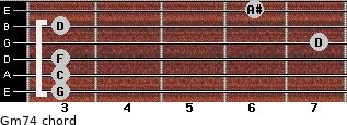 Gm7/4 for guitar on frets 3, 3, 3, 7, 3, 6
