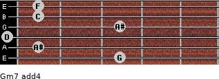 Gm7(add4) for guitar on frets 3, 1, 0, 3, 1, 1