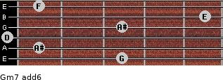 Gm7(add6) for guitar on frets 3, 1, 0, 3, 5, 1