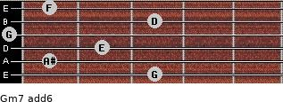 Gm7(add6) for guitar on frets 3, 1, 2, 0, 3, 1