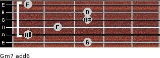 Gm7(add6) for guitar on frets 3, 1, 2, 3, 3, 1