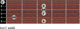 Gm7(add6) for guitar on frets 3, 1, 3, 3, 3, 0