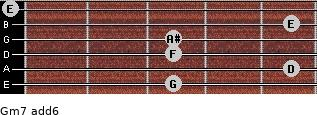 Gm7(add6) for guitar on frets 3, 5, 3, 3, 5, 0