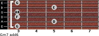 Gm7(add6) for guitar on frets 3, 5, 3, 3, 5, 3