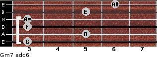 Gm7(add6) for guitar on frets 3, 5, 3, 3, 5, 6