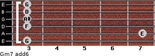 Gm7(add6) for guitar on frets 3, 7, 3, 3, 3, 3