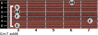 Gm7(add6) for guitar on frets 3, 7, 3, 3, 3, 6