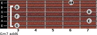 Gm7(add6) for guitar on frets 3, 7, 3, 7, 3, 6