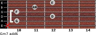 Gm7(add6) for guitar on frets x, 10, 12, 10, 11, 12