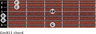 Gm9/11 for guitar on frets 3, 0, 0, 3, 1, 1