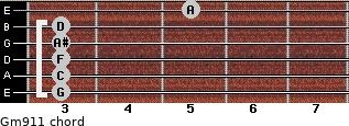 Gm9/11 for guitar on frets 3, 3, 3, 3, 3, 5