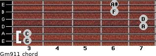 Gm9/11 for guitar on frets 3, 3, 7, 7, 6, 6