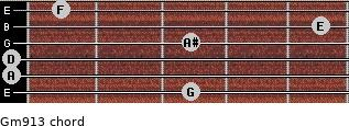 Gm9/13 for guitar on frets 3, 0, 0, 3, 5, 1