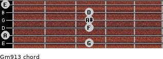 Gm9/13 for guitar on frets 3, 0, 3, 3, 3, 0