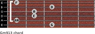 Gm9/13 for guitar on frets 3, 1, 2, 2, 3, 1