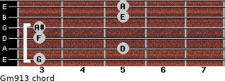 Gm9/13 for guitar on frets 3, 5, 3, 3, 5, 5