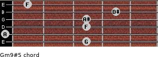 Gm9#5 for guitar on frets 3, 0, 3, 3, 4, 1