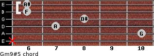 Gm9#5 for guitar on frets x, 10, 7, 8, 6, 6