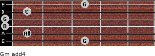 Gm add(4) for guitar on frets 3, 1, 0, 0, 1, 3