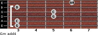 Gm add(4) for guitar on frets 3, 3, 5, 5, 3, 6